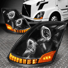 [LED DRL+SEQUENTIAL TURN SIGNAL] FOR 04-18 VOLVO VN/VNL PROJECTOR HEADLIGHT LAMP