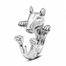Dog Fever Sterling Silver Bull Terrier Ring Hug Wrap Medium