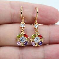 18K Yellow Gold Filled Mystical Topaz Hollow Flower Wedding Earrings Ladies