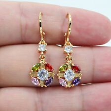 18K Yellow Gold Filled Mystical Topaz Hollow Flower Wedding Earrings Ladies