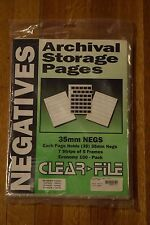 CLEAR FILE Archival 35mm Negative Storage Pages 7 strips of 5 frames 82 Pages