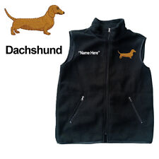 Dachshund Weiner Dog Fleece Vest with Zippers Personal Name Stitched Monogrammed