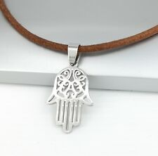 Silver Hamsa Khamsa Hand Stainless Steel Pendant Brown Leather Choker Necklace