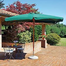Ombrellone da giardino 3x4 mt con 2 doppie carrucole e telo copertura verde