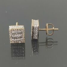 Natural Diamond 0.69 CT Square Earring in 10 K Yellow Gold