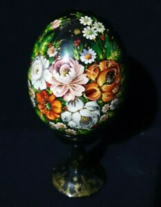Russian Handpainted Egg & Padastool Black Wooden Lacquered Floral Flowers signed