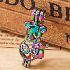 5pc Rainbow Color Mom Baby Bear Pearl Cage Locket Pendant Essential Oil Diffuser