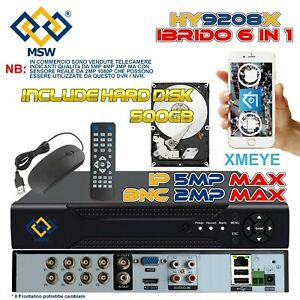 NVR 16 Canali DVR 8 Canali + HD 500GB UTC XVR 6 IN 1 1080P IP Onvif Cloud P2P