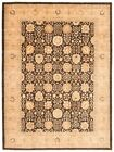 """Vintage Hand-knotted Carpet 8'10"""" x 12'1"""" Traditional Black Wool Area Rug"""