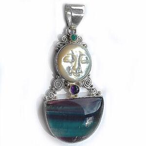 Offerings Sajen Mother of Pearl Goddess Pendant w.  Fluorite, Emerald & Amethyst