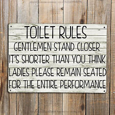 TOILET RULES BATHROOM Quote Print On A Metal Sign Hanging Toilet Chic Funny