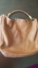 Authentic YSL ROADY tan leather handbag - satin leopard print lining - beautiful