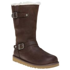 GENUINE UGG KENSINGTON BOOTS YOUTH JUNIOR UK SIZE 3 WOMENS 4 BROWN LEATHER BNIB