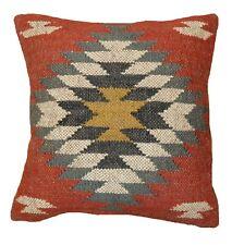 """18"""" Kilim Cushion Cover Handwoven Wool Jute Pillowcase Throw Hippie Sofa Sham"""