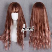 Long Curly 70CM Lolita Fashion Mixed Brown Basic Women Anime Cosplay Wig + Cap