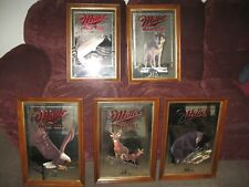 LOT OF 5, MILLER HIGH LIFE 1ST EDITION WILDLIFE SERIES MIRRORS, WISCONSIN SERIES