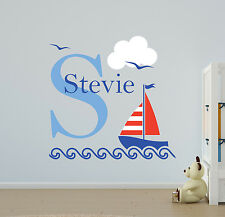 NAUTICAL BOATS PERSONALISED CHILDREN'S BEDROOM PLAYROOM WALL STICKER DECAL VINYL