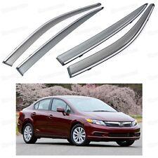 Front & Rear Side Window Visor Deflectors Vent Shade for Honda Civic 2012-2014