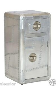 Aviator Side Table with Door and Drawer