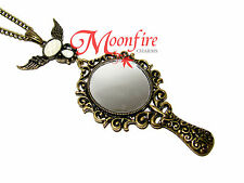 SNOW WHITE MAGIC MIRROR BRONZE PENDANT NECKLACE REAL MIRROR MIRROR ON THE WALL
