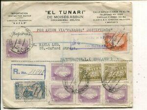 Bolivia Panagra reg air mail cover to England 25.4.1950