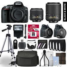Nikon D5300 SLR Camera 4 Lens Kit 18-55 + 55-200mm VRII + 64GB Accessory Bundle