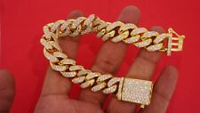 Miami Cuban Link Bracelet 120 Grams 8 Carat Diamonds 10k Yellow Gold