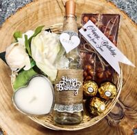 Birthday Day Hamper Gift Set Personalised Basket light up bottle candle chocolat