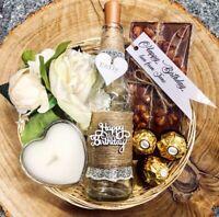 Birthday Day Hamper Gift Set Personalised Basket light up bottle candle chocolat