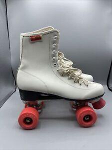 Chicago White And Pink Retro Quad Roller Skates - UK 8