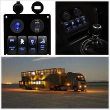 Car Boat Motorcycle 12-24V 4 Gang LED Rocker Switch Panel Voltmeter Dual USB Kit
