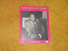Joe Tex sheet music You're Right, Ray Charles 1970 4 pages (Nm shape)
