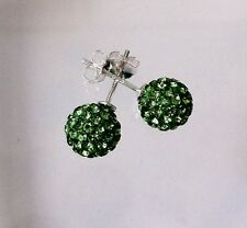 Shamballa Stud Earrings 8mm Green pave Crystal Bead on 925 Sterling Silver new