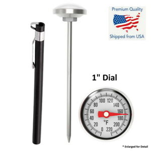 Stainless Steel Pocket Probe 0-220F Thermometer Gauge Food Cooking Meat BBQ #B