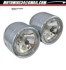 Double phares moto, optiques chromés H3 chromés STYLE speed triple adaptable