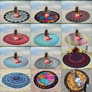 Indian Mandala Round Yoga Mat Boho Beach Blanket Tapestry Throw Picnic Rug Mat