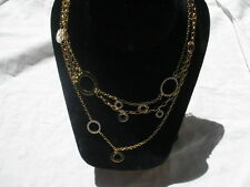 STERLING SILVER solid & 18kt gold plated C-Z Circle DESIGNER 3 stand Necklace