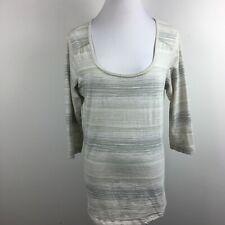 Eddie Bauer Outdoor XL Knit Top Gray Stripe 3/4 Sleeve Stretch 100% Cotton