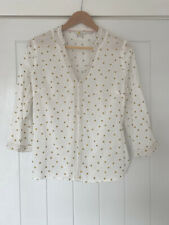 Boden Ivory Cream And Gold Spot Blouse Size 12