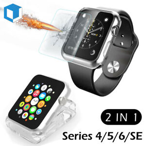 Apple Watch Series 4/ 5/ 6 Tempered Glass Screen Protector + Soft Clear TPU Case
