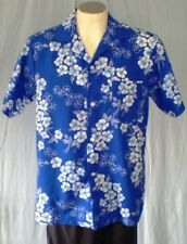 Hukilau Fashions Blue Large Hawaiian Shirt White Flowers Vintage Polyester
