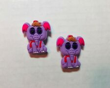 Purple Elephant Shoe Charm Set