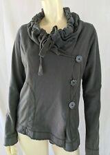 Lucky Brand Jacket M Gray Cotton Drawstring Wide Collar Raw Edges Boho