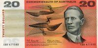 1966 Australia Coombs/Wilson  $20 1st PREFIX  XAA CRISP gEF/aUNC Note CUT ERROR