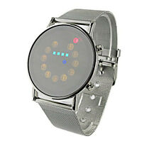 Red+Yellow+Green+Blue LED Light Stainless Steel Fashion Wrist Watch Ornate