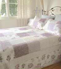 King Single Bed Country Lavender Shabby Roses Chic Patchwork Quilt Bedspread Set
