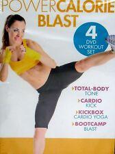 Gaiam Power Calorie Blast 4 DVD Workout Cardio Kickbox Bootcamp Yoga Tone Sculpt