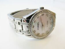 Fossil Blue Mother of Pearl Rhinestone Stainless Steel Watch RUNS #6677