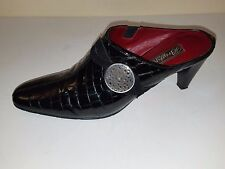 "Brighton ""Romeo"" Black Crocodile Patent Leather Mules Sz. 9 M *Made in Italy*"