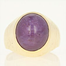 Men's Star Ruby Ring - 18k Yellow Gold Solitaire Oval Cabochon 9.40ct